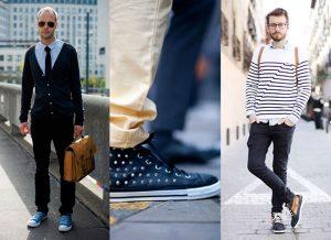 Mix giày converse với áo sơ mi và quần dài 2