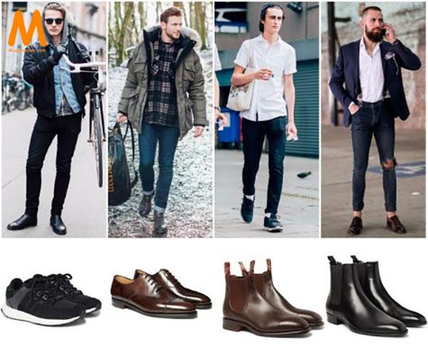 chọn giày phù hợp với quần jean nam skinny