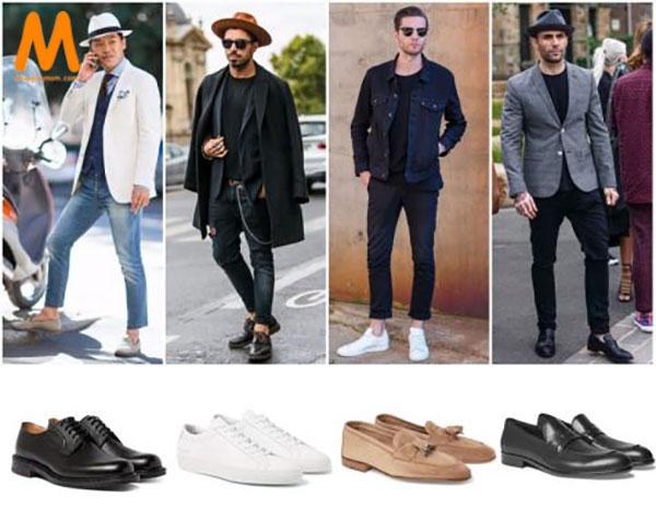 chọn giày phù hợp với quần jean nam Slim-fit