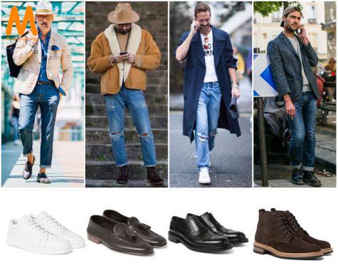 chọn giày phù hợp với quần jean nam phong đứng cổ điển (straight-fit)
