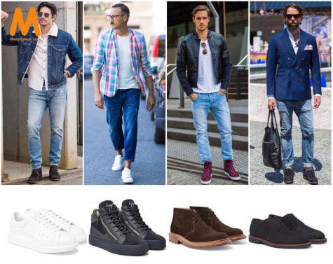 chọn giày phù hợp với quần jean nam tapered-fit