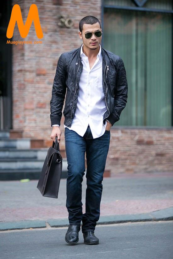 phối giày tây với quần jean nam