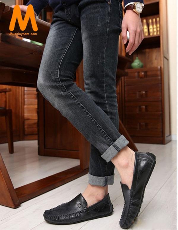 Phối giày lười với quần jean nam