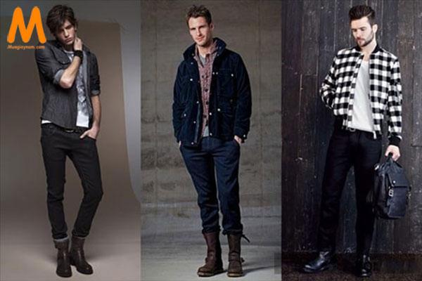 phối giày cao cổ và quần jean nam