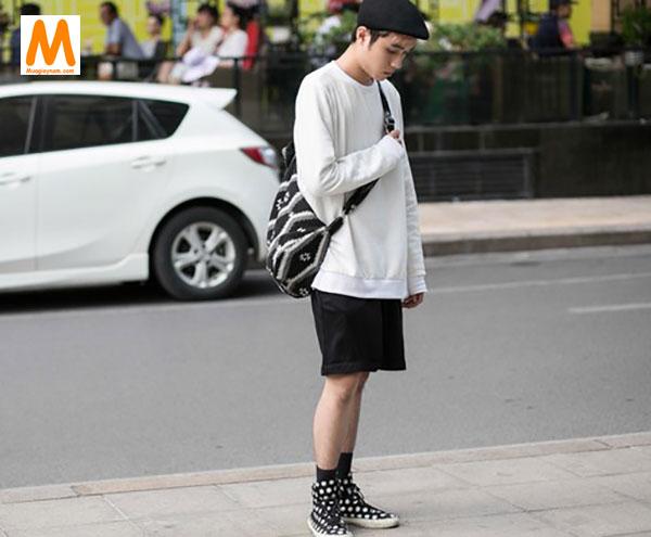 Cách phối đồ với giày cao cổ nam và quần short 2