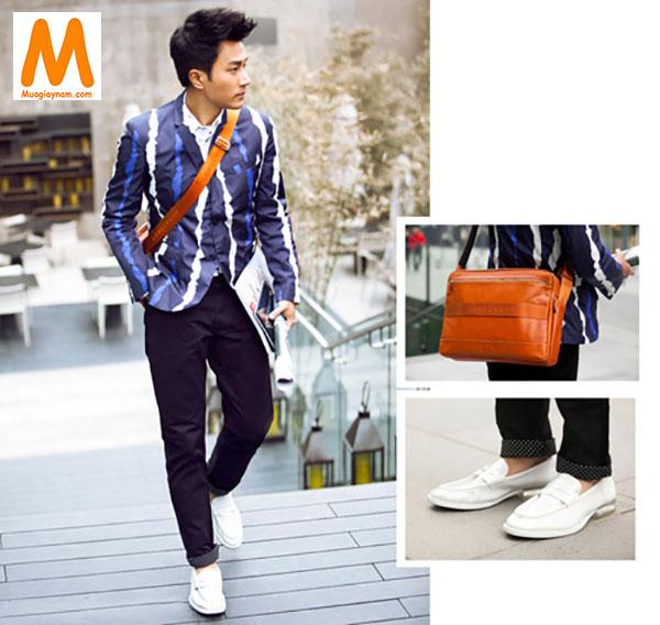 Phối đồ với giày lười trắng nam phong cách thanh lịch