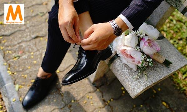 Giày cưới nam da bóng và mũi nhọn