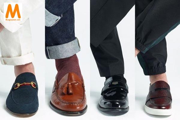 Giày lười mang với quần tây