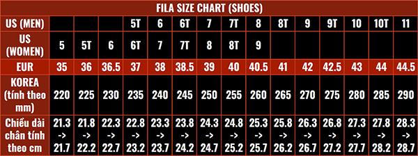 Size giày Fila