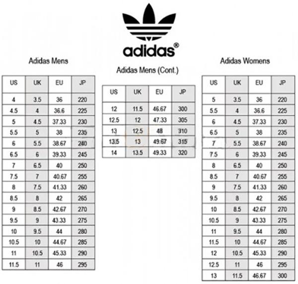 Bảng size giày adidas nam